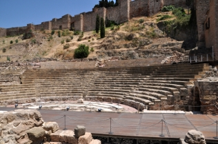 Roman amphitheater built into hillside