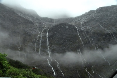 Homer Tunnel exit, with waterfalls