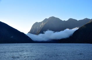 Looking at the entrance to Milford Sound from the Tasman Sea