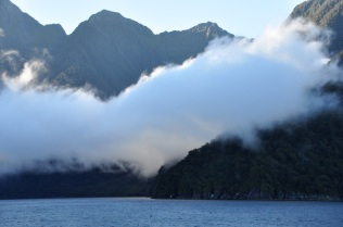 Re-entering Milford Sound; don't go away, mountains!