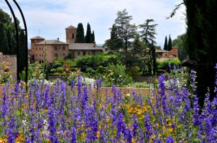 Generalife garden with view of the Alhambra