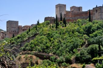 The Alhambra with surrounding old walls