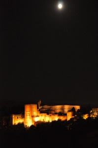 The Alhambra at night, from the Albayzín
