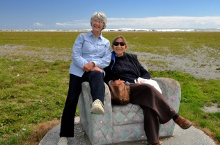 Chilling on a cement chair on the beach at Hokitika, West Coast