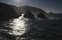 The sunlight hightlights the swells