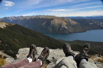 On the rocky outcrop with a view of Mt Roberts