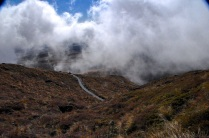 Cloud blown along the trail