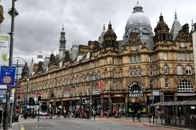 Shops and City Market in Leeds