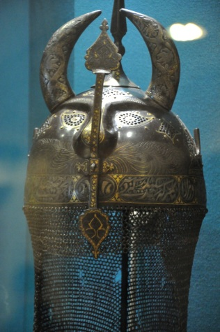 "Persian helmet, ""devil's head"" type, intended for parade rather than war"