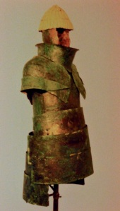 Picture of bronze-plate armor from a tomb in Greece, 1400BC