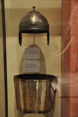 Although the helmet is from the 1700's, the Indian body armor, made of 16 hinged silvered iron plates, is from the 1600's