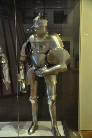 Jousting armor, Italian style, about 1580. The handles on the helmet allowed the visor to be opened so the jouster could breathe just before combat