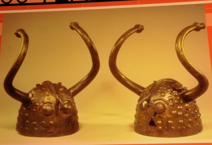 Picture of bronze helmets from Denmark, 1000BC