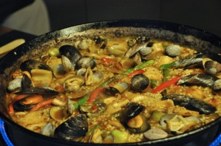 The mussels and clams are open and the stock is nearly gone