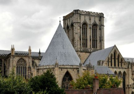The foreground building with the pointed roof is the Chapter House