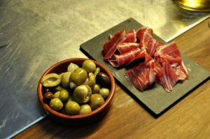 Green olive and jamon iberica starters