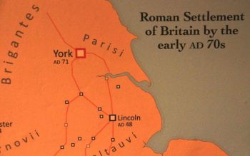 Roman forts in Lincoln and, farthest north, York