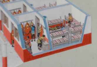 Artist rendering of a barrack compartment housing 8 men