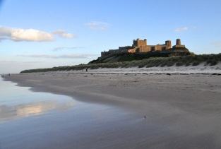 Bamburgh Castle overlooking the (beautiful) beach