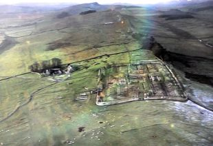 Aerial picture of the Housestead Fort site ruins (and attached Hadrian's Wall following the ridge)