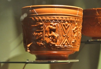 Samian ware pottery from France that arrived broken and was thrown unused into the fort ditch