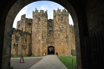 View of Alnwick Castle keep from within the entrance gate