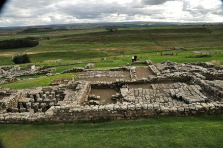 View of the Praetorium Commander's House in the Roman fort ruins - and surrounding countryside
