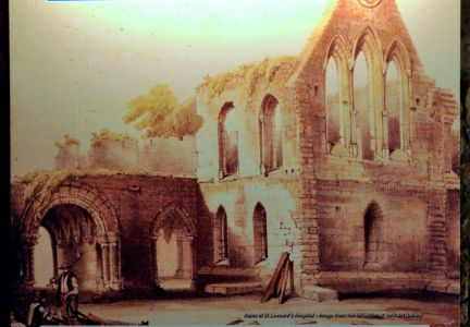 Drawing of the ruins of St Leonard's Hospital