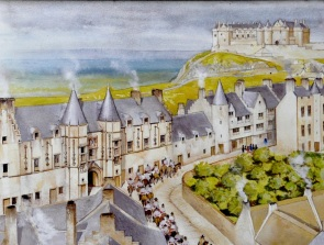 Artist's impression of Stirling about 1680, with Mar's Wark on left