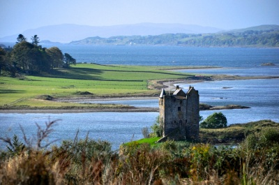 Stalker Castle, with a view of Loch Linnhe