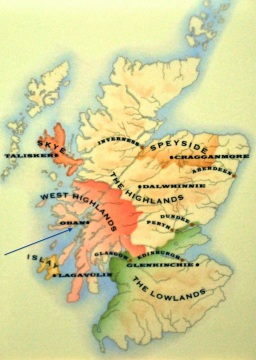 Regions of distinctive Scotch single malt whiskeys