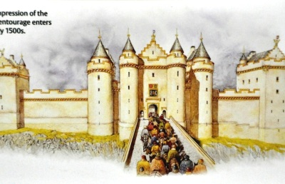 Depiction of Stirling Castle entrance, 1500