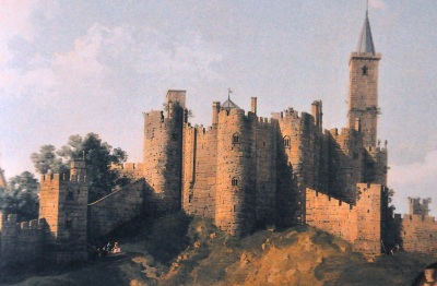 "Detail of Italian painter Canaletto's picture, ""View of Alnwick Castle"", 1752"
