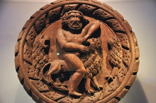 Hercules slaying the invincible Nemean Lion with his bare hands (the 1st of his 12 Labors)