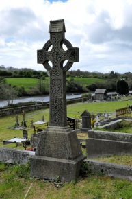 Ornate Irish cross overlooking the famine burial site