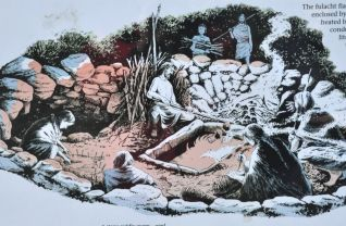 Artist sketch of the fulacht fiadh in use