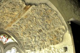 Remnants of the decorative plaster work from the 1600's