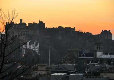 Edinburgh castle looms over the city
