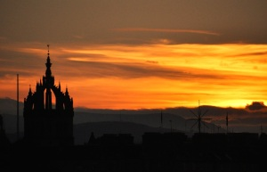 St. Giles' Cathedral spires at sunset