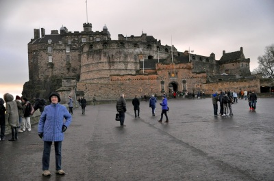 Edinburgh Castle (and Ginger posing)