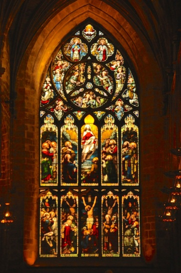 Stained glass window, end of nave