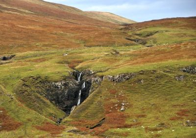 Waterfall on adjacent hills near Fairy Glen
