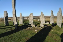 The Callanish Stones, looking north down the double row of stones