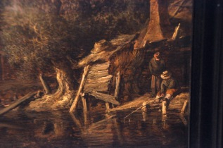 Detail of Goyen's Cottages and Fishermen by a River