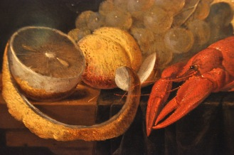 Detail of van Es' Still Life with Fruit and Crayfish
