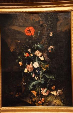 Rachel Ruysch: Flowers and Butterflies by a Tree Trunk, ~ 1683