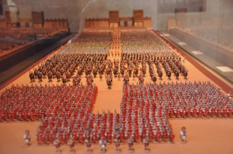 Model of Roman soldiers and the gate to Lincoln