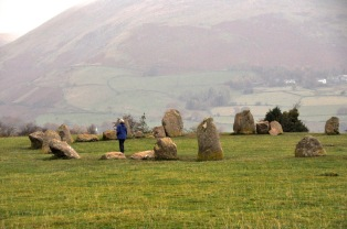 Ginger in the Castlerigg Stone Circle, with a beautiful background