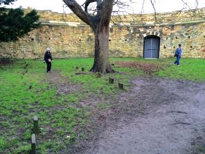 Graves in the Lucy Tower, including those of murderers hanged in the castle