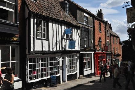 Cute buildings along the medieval street